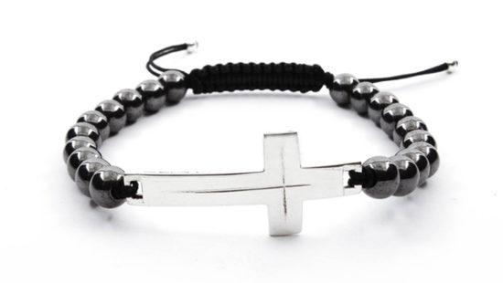 Гривна Шамбала със сребърен кръст и Хематит