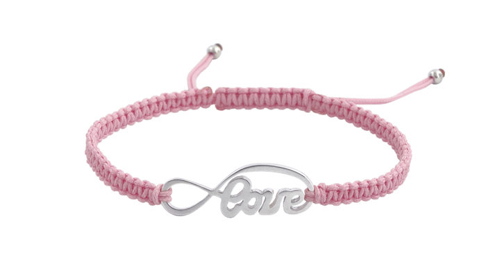 Гривна Шамбала със Сребърен символ Love и розов конец