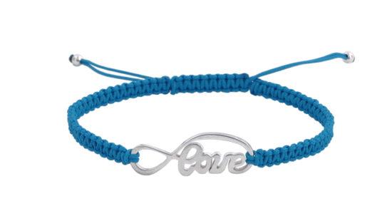 Гривна Шамбала със Сребърен символ Love и светло син конец
