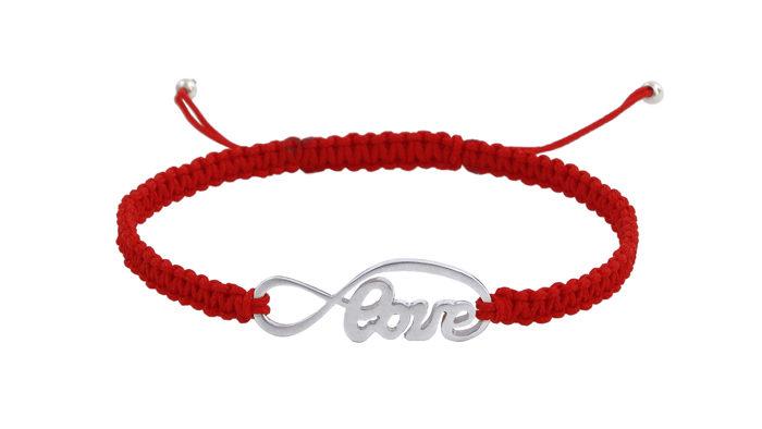 Гривна Шамбала със Сребърен символ Love и червен конец