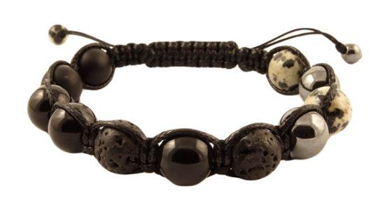 Мъжка Гривна Шамбала с естествени камъни
