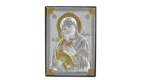 Сребърна икона на Богородица с младенеца