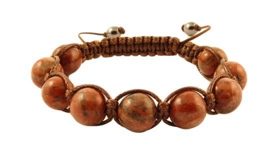Гривна Шамбала с естествени камъни Яспис