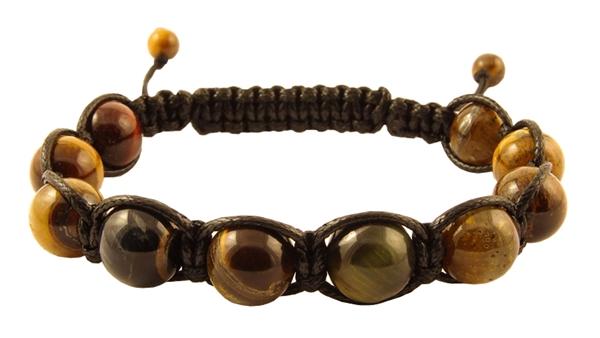 Мъжка Гривна Шамбала с естествени камъни Тигрово око
