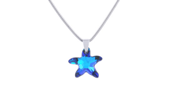 Сребърно колие Сваровски морска звезда Bermuda Blue