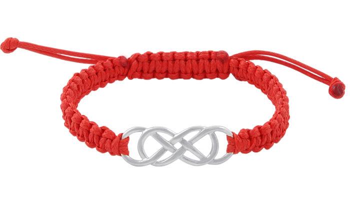 Гривна шамбала двойна безкрайност червен конец