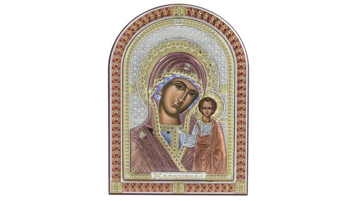 Сребърна икона на света богородица с младенеца