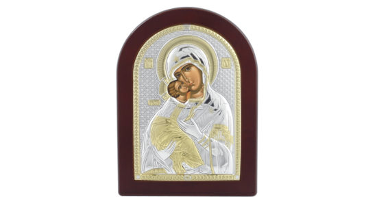 Сребърна икона Света Богородица с младенеца
