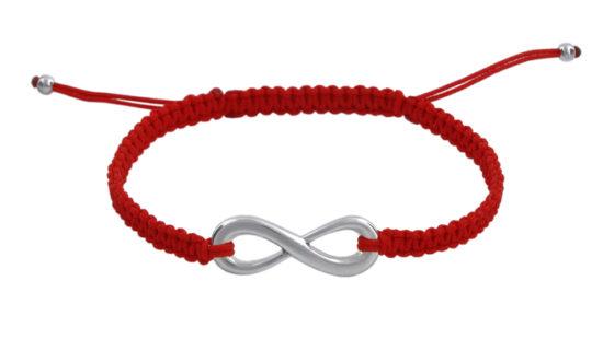 Гривна с червен конец и символ безкрайност
