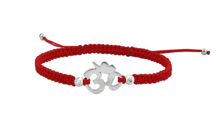 Гривна с червен конец и символ ом