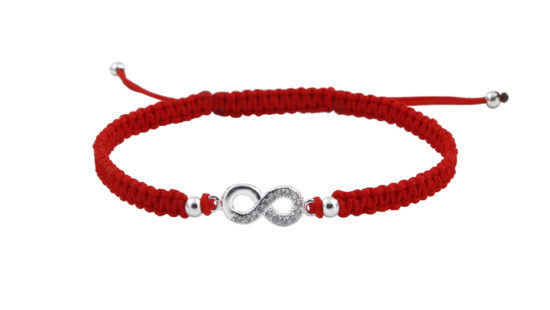 Гривна с червен конец и символ безкрай