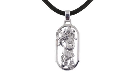 Сребърен медальон дракон