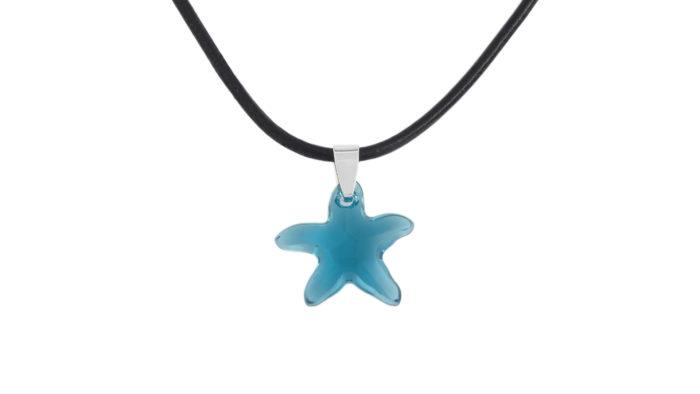 Колие с морска звезда Сваровски Indicolite и естествена кожа
