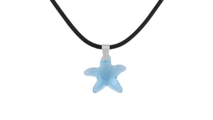 Колие с морска звезда Сваровски Aqua и естествена кожа