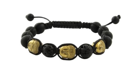 Мъжка гривна Шамбала с Оникс, Вулканичен камък и елементи Буда